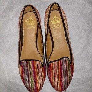 Crown Vintage Multicolor Striped Boho Flats 6M
